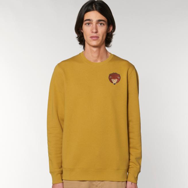 tommy and lottie adults organic cotton hedgehog sweatshirt - ochre