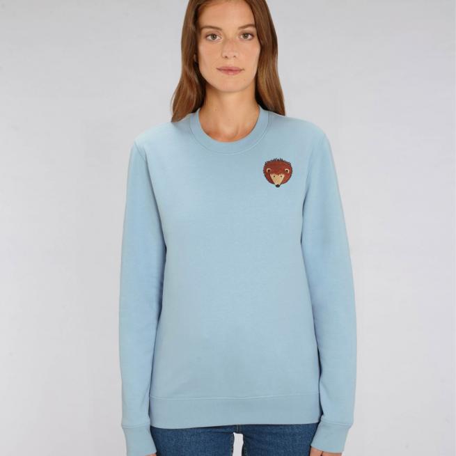 tommy and lottie adults organic cotton hedgehog sweatshirt - pale blue