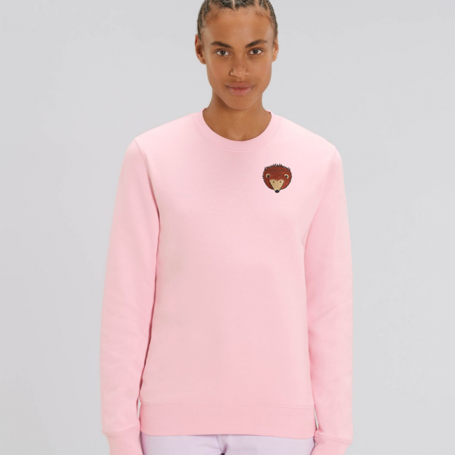 tommy and lottie adults organic cotton hedgehog sweatshirt - pale pink