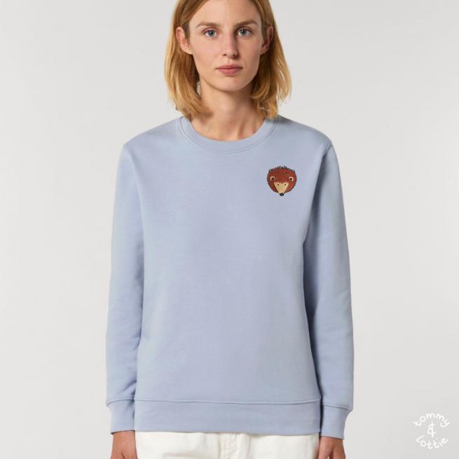 tommy and lottie adults organic cotton hedgehog sweatshirt - serene blue