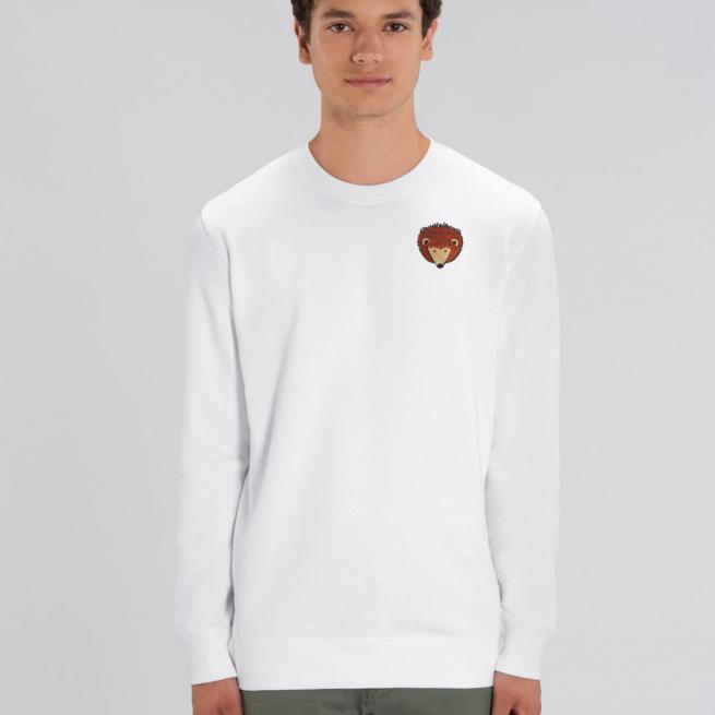 tommy and lottie adults organic cotton hedgehog sweatshirt - white