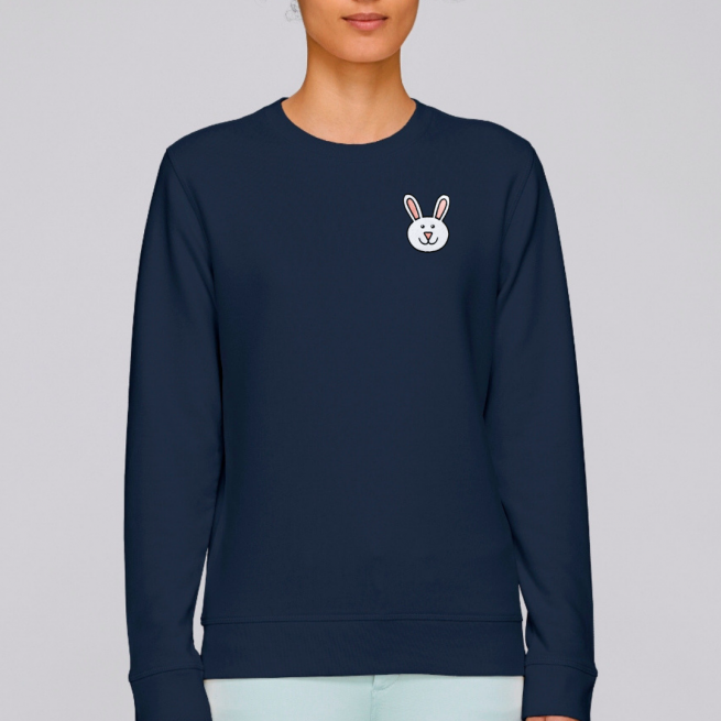 navy bunny adult sweatshirt organic cotton