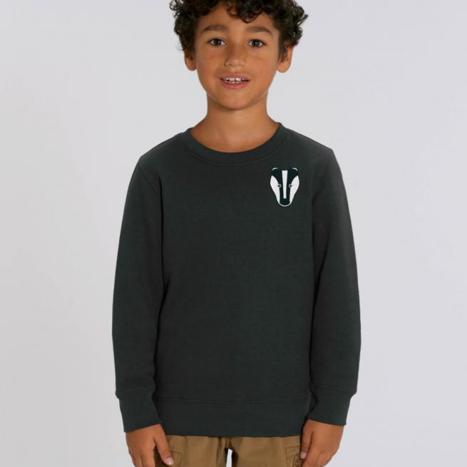 tommy and lottie childrens organic badger sweatshirt - black