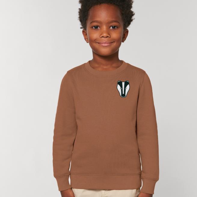 tommy and lottie childrens organic badger sweatshirt - caramel