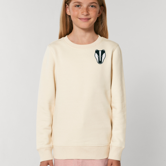 tommy and lottie childrens organic badger sweatshirt - natural