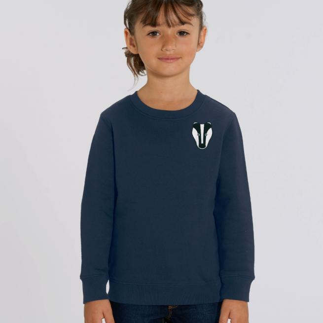 tommy & lottie childrens organic badger sweatshirt - navy