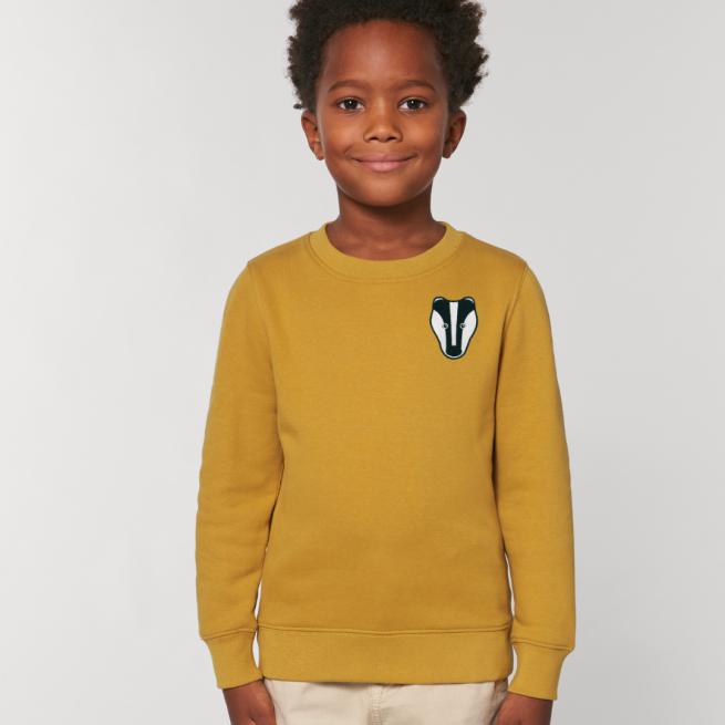 tommy and lottie childrens organic badger sweatshirt - ochre