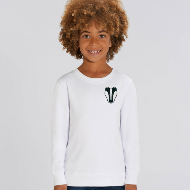 tommy and lottie childrens organic badger sweatshirt - white