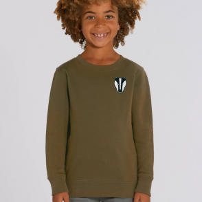 tommy & lottie childrens organic cotton badger sweatshirt - khaki