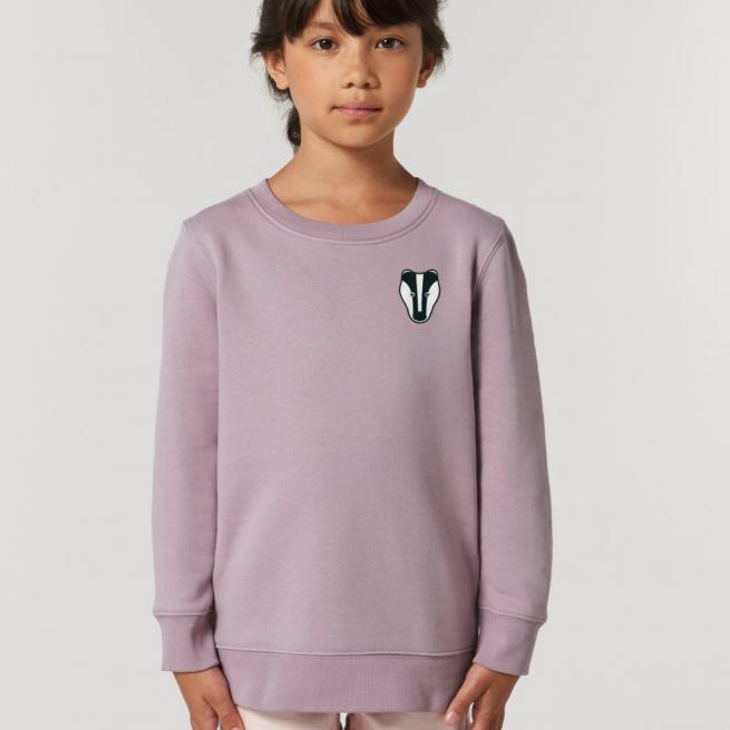 tommy & lottie childrens organic cotton badger sweatshirt - lilac petal