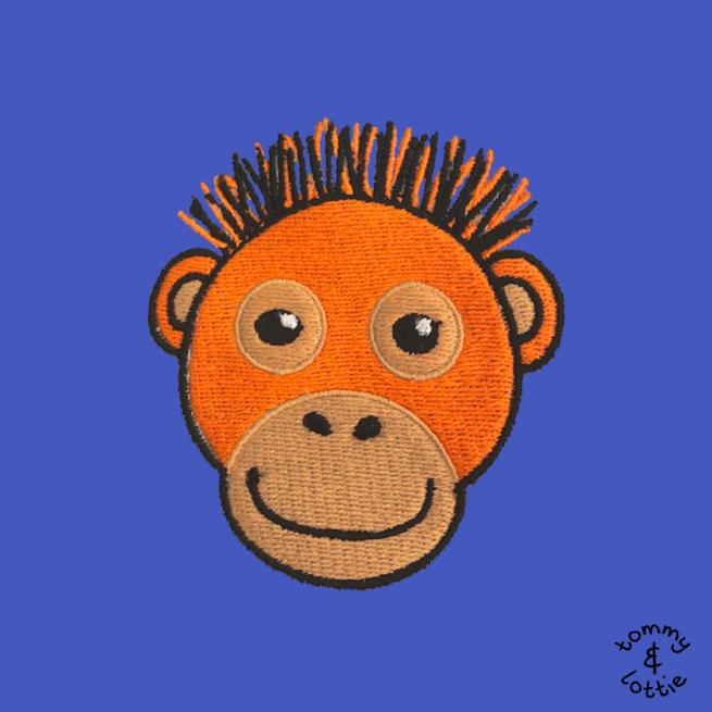 tommy & lottie close up of orangutan embroidery design