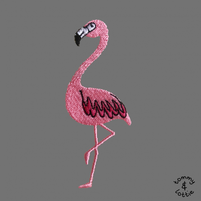 Close up of flamingo embroidery - tommy & lottie