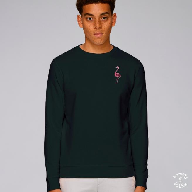 tommy and lottie adults organic cotton flamingo sweatshirt - black