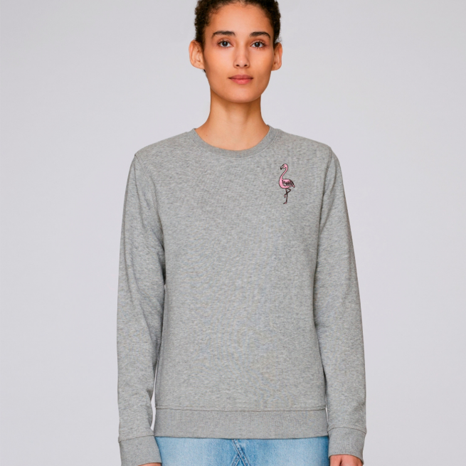 tommy and lottie adults organic cotton flamingo sweatshirt - grey marl