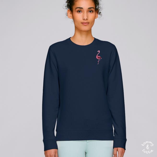 tommy and lottie adults organic cotton flamingo sweatshirt - navy