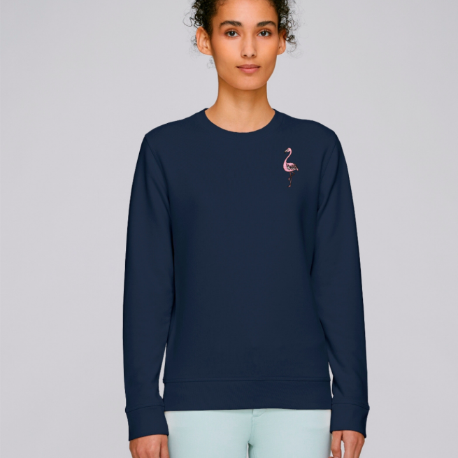 tommy and lottie adults organic cotton flamingo sweatshirt - navy