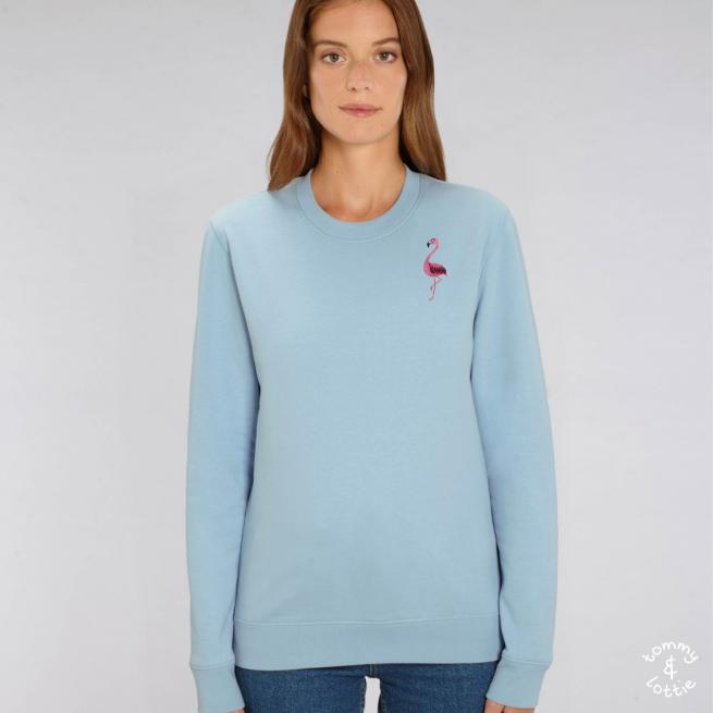 tommy and lottie adults organic cotton flamingo sweatshirt - pale blue