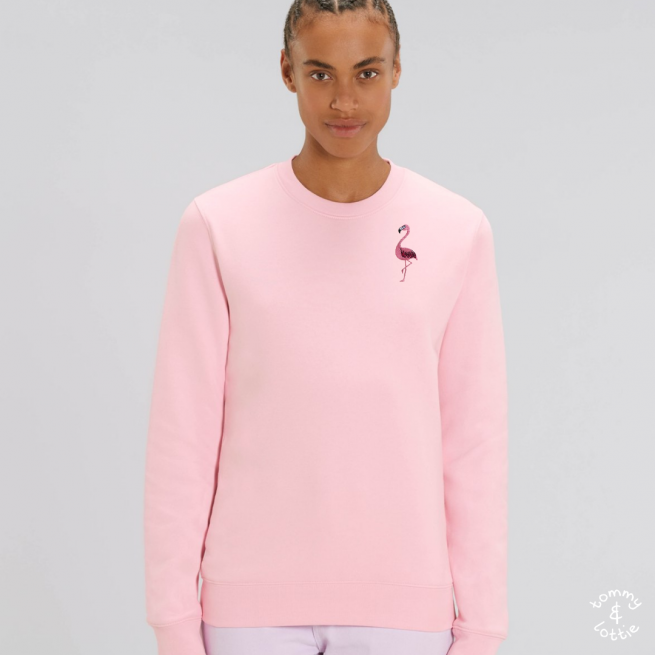 tommy and lottie adults organic cotton flamingo sweatshirt - pale pink