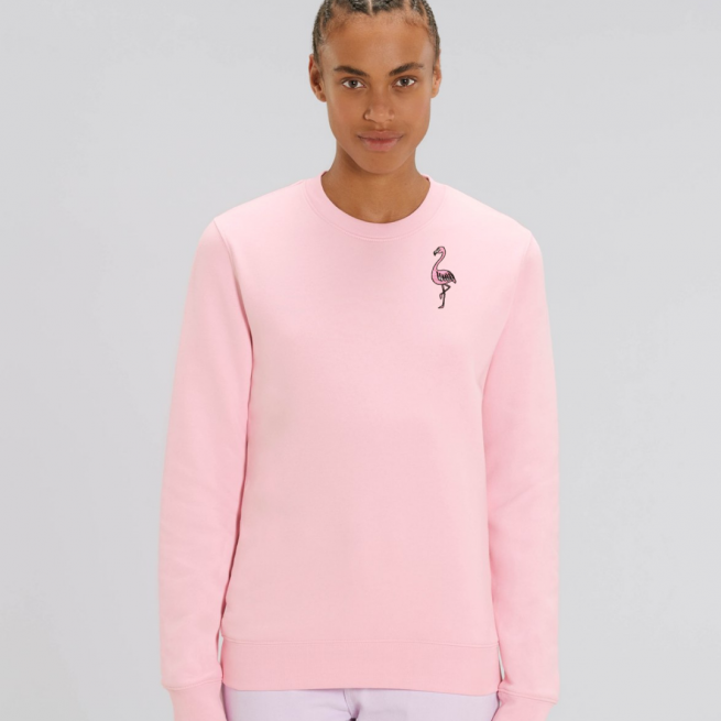 tommy and lottie adults organic cotton flamingo sweatshirt - pale pink