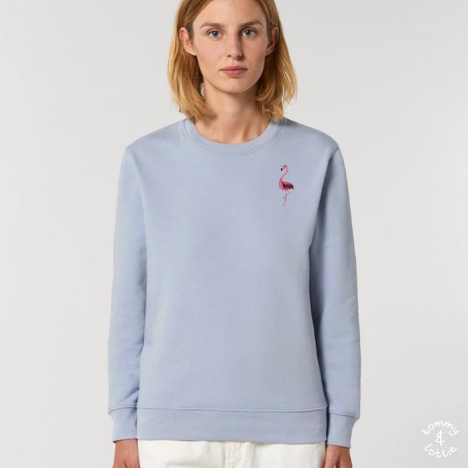 tommy and lottie adults organic cotton flamingo sweatshirt - serene blue