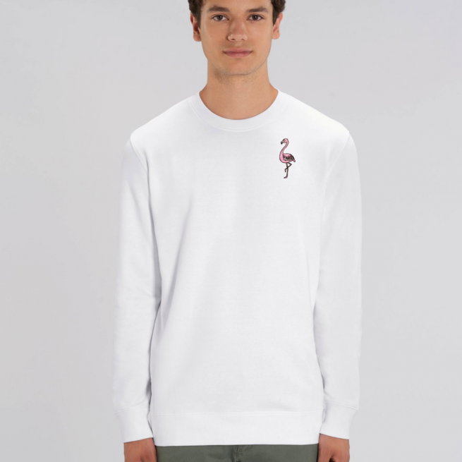 tommy and lottie adults organic cotton flamingo sweatshirt - white