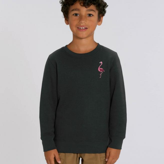 tommy & lottie childrens organic cotton flamingo sweatshirt - black