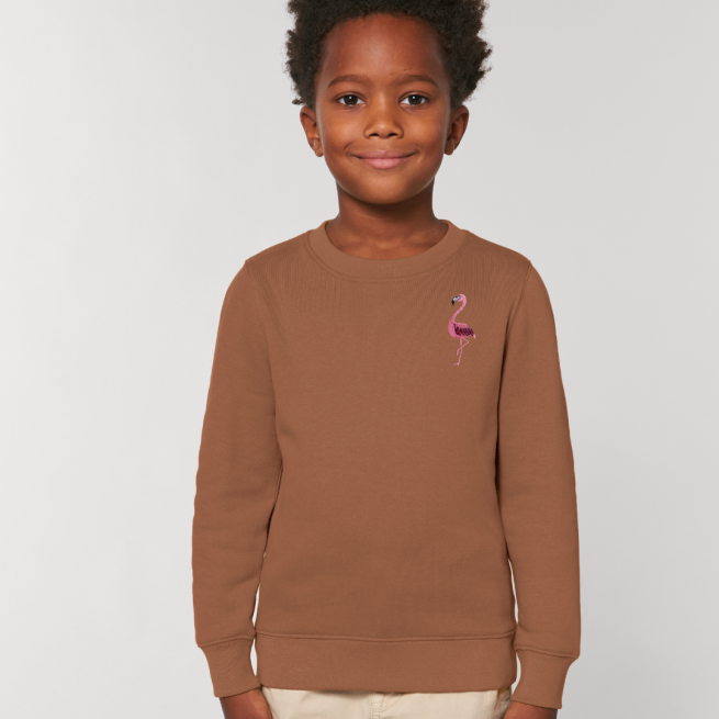 tommy & lottie childrens organic cotton flamingo sweatshirt - caramel