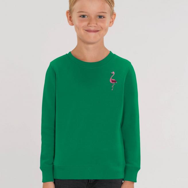 tommy & lottie childrens organic cotton flamingo sweatshirt - green