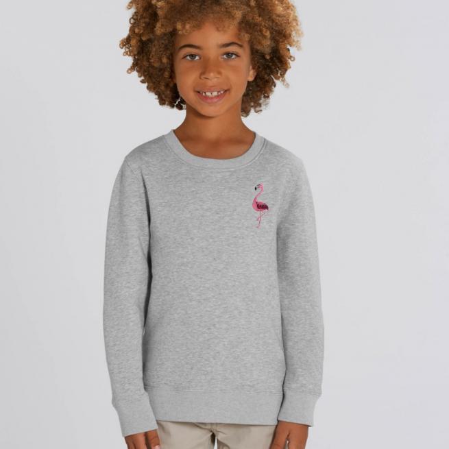 tommy & lottie childrens organic cotton flamingo sweatshirt - grey marl