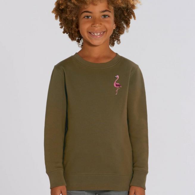 tommy & lottie childrens organic cotton flamingo sweatshirt - khaki