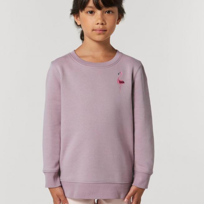 tommy & lottie childrens organic cotton flamingo sweatshirt - lilac petal