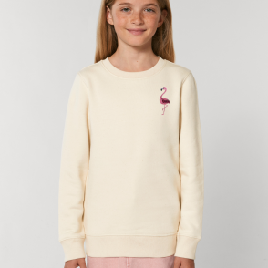 tommy & lottie childrens organic cotton flamingo sweatshirt - natural