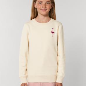 tommy & lottie childrens organic cotton flamingo sweatshirt - natural