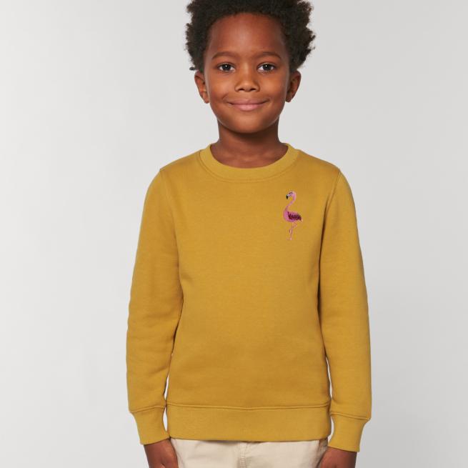 tommy & lottie childrens organic cotton flamingo sweatshirt - ochre