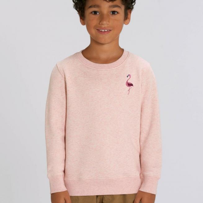 tommy & lottie childrens organic cotton flamingo sweatshirt - pink cream marl
