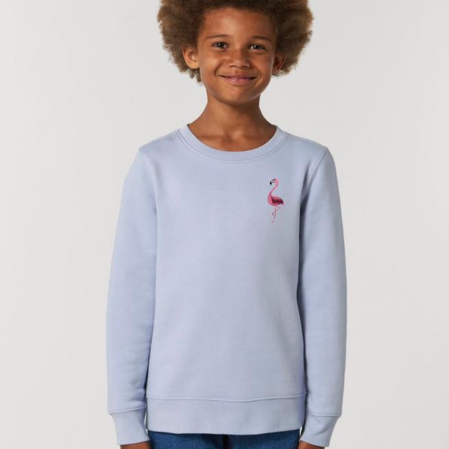 tommy & lottie childrens organic cotton flamingo sweatshirt - serene blue