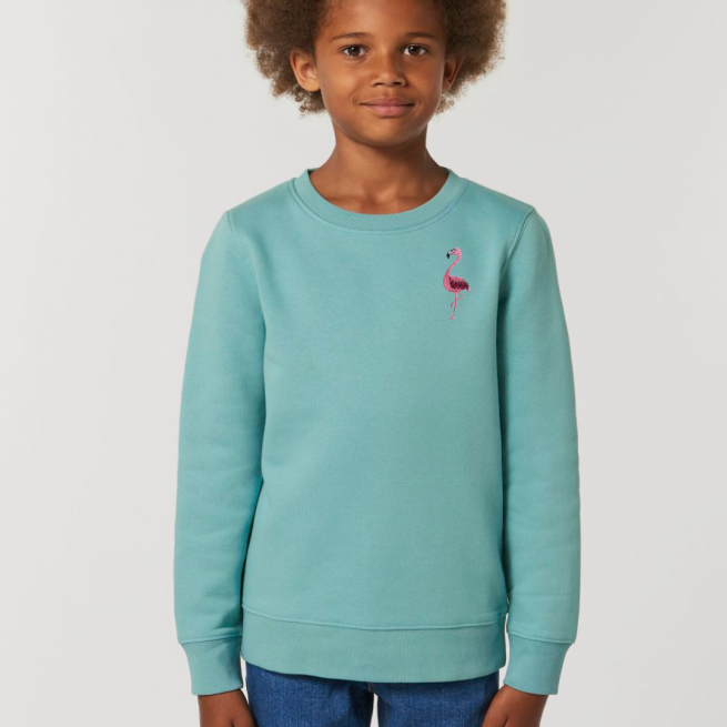 tommy & lottie childrens organic cotton flamingo sweatshirt - teal monstera