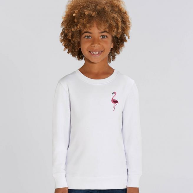 tommy & lottie childrens organic cotton flamingo sweatshirt - white