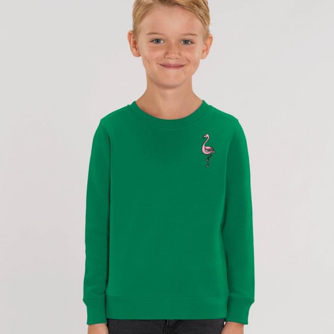 tommy and lottie kids organic flamingo sweatshirt - green