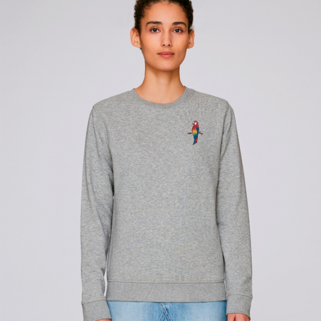 tommy and lottie adults organic cotton parrot sweatshirt - grey marl