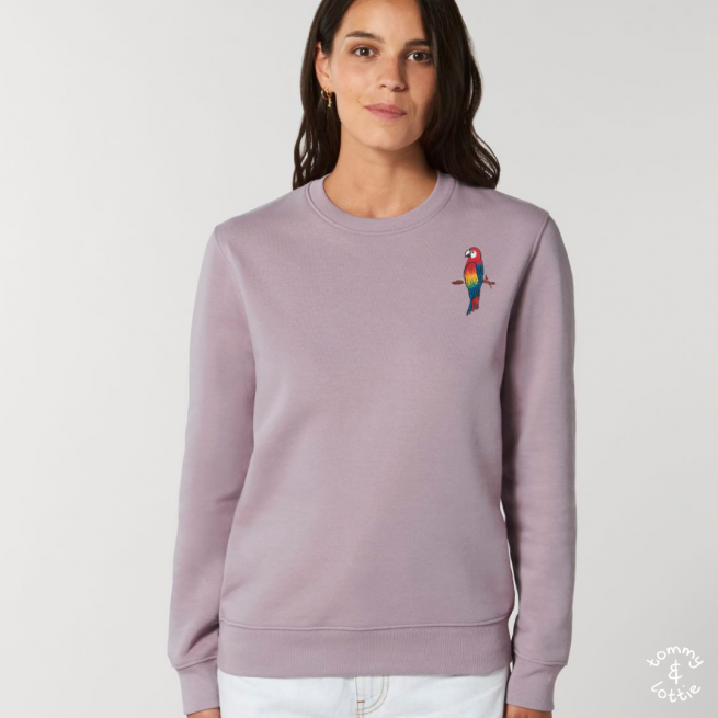 tommy and lottie adults organic cotton parrot sweatshirt - lilac petal