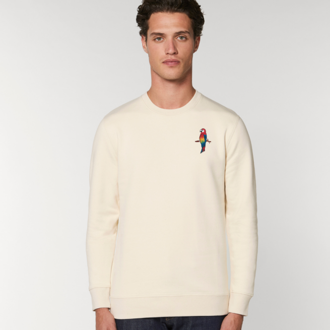 tommy and lottie adults organic cotton parrot sweatshirt - natural