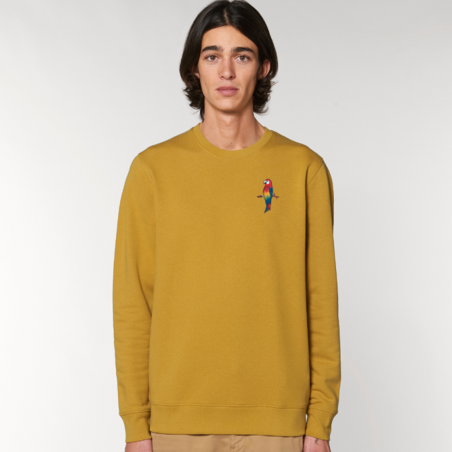 tommy and lottie adults organic cotton parrot sweatshirt - ochre