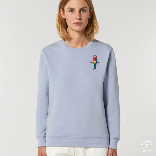 tommy and lottie adults organic cotton parrot sweatshirt - serene blue