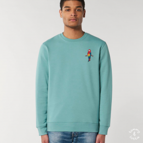 tommy and lottie adults organic cotton parrot sweatshirt - teal monstera