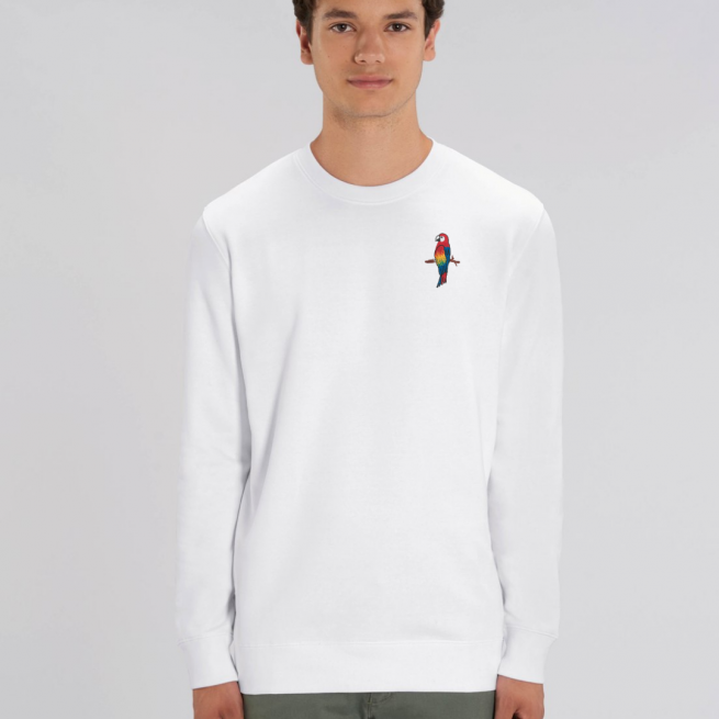 tommy and lottie adults organic cotton parrot sweatshirt - white