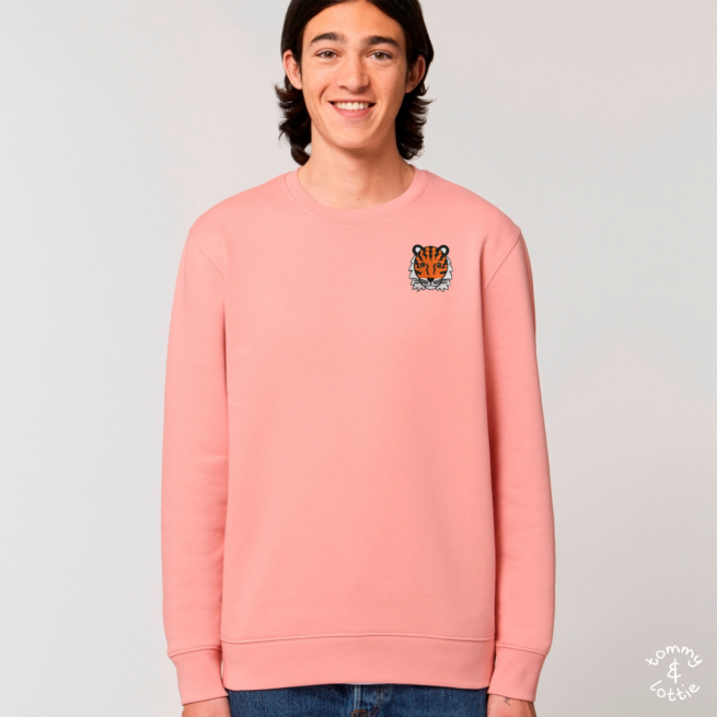 tommy and lottie adults organic cotton tiger sweatshirt - canyon pink