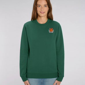 tommy and lottie adults organic cotton tiger sweatshirt - bottle green
