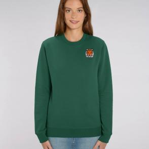 tommy and lottie adults organic cotton tiger sweatshirt - bottle green