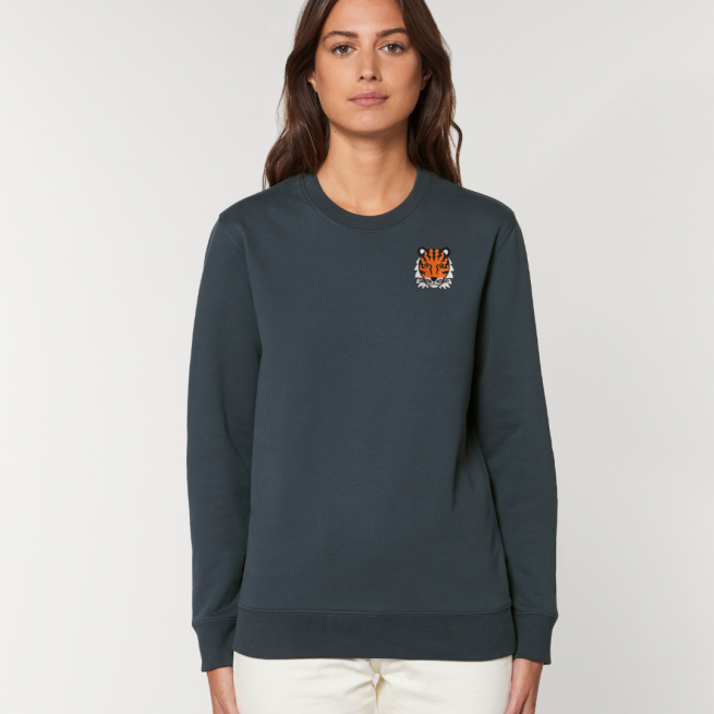 tommy and lottie adults organic tiger sweatshirt - ink grey